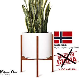 FABRIK Mid-Century Modern Minimalist Wood 11'' Plant Stand Tall Wood for Indoor and Outdoor - Elegant Design- 100% Handmade from Natural Organic Mahogany Wood (Pot Not Included)
