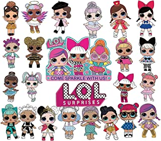 LOL 24pcs Cupcake Toppers Girls Topper Set, Decorations for 1st Birthday Theme Party