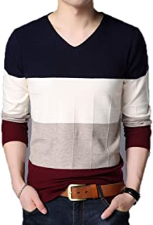 Eslove Sweater for Mens Pullover V Neck Jumpers Knit Striped Autumn Korean Style