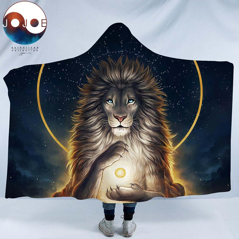 Sleepwish Soul Keeper by JoJoesArt gold Lion Sherpa Blanket Yoga Lion Fleece Blanket Kids Boy and Adults Hooded Blanket (60 x 80 )