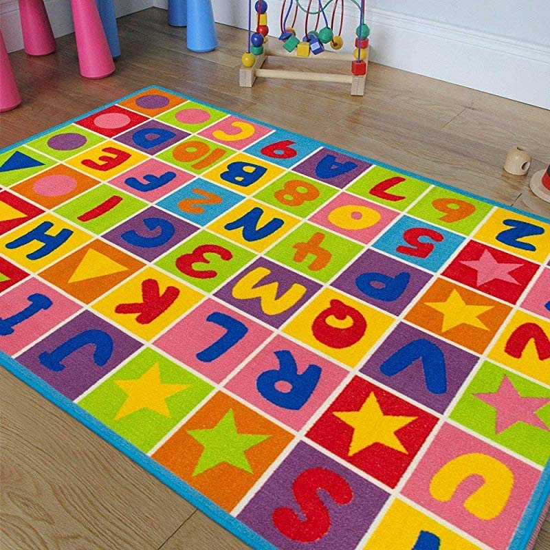 Kids Baby Room Daycare Classroom Playroom Area Rug Letters Numbers Fun Educational Shapes Non Slip Back Bright Colorful Vibrant Colors 5 Feet X 7 Feet