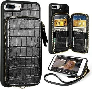 iPhone 7 Plus Wallet case,iPhone 8 Plus Leather Wallet Case with Credit Card Holder Slot Zipper Purse Handbag Wrist Strap Crocodile Skin Pattern Cover for Apple iPhone 8plus 7plus,5.5 inch - Black