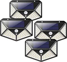 Solar Lights 100 LED Outdoor, Waterproof Wireless Solar Motion Sensor Lights 4Pack, High Lumens Light with 125° Motion Ang...