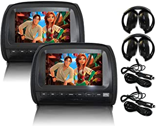 """Elinz 2x 9"""" LCD Black Headrest DVD Player Car Monitor Pillow 1080P USB SD Sony Lens Headphones Car Chargers More Video For..."""