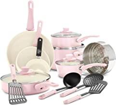 GreenLife Soft Grip Healthy Ceramic Nonstick, Cookware Pots and Pans Set, 16 Piece, Pink