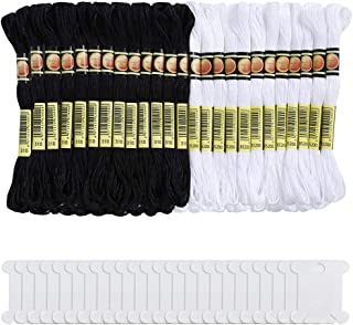 Pllieay 48 Skeins Black and White Embroidery Threads Friendship Bracelets Floss Halloween Cotton Embroidery Floss with 24 Pieces Floss Bobbins for Knitting, Embroidery and Cross Stitch Project