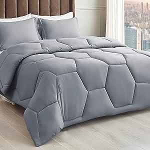 Bedsure Honeycomb Grey Comforter Queen Set - Queen Size Comforter Set 3 Pieces with1 Comforter and 1 Pillow Shams