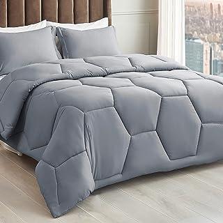 سرویس خواب تختخواب Bedsure King - مجموعه آرایش های عسلی خاکستری با بالشوهم ، دستگاه های نرم King Comforter قابل شستشو در ماشین ، 1 King Comforter 102x90 اینچ ، 2 بالش شمس