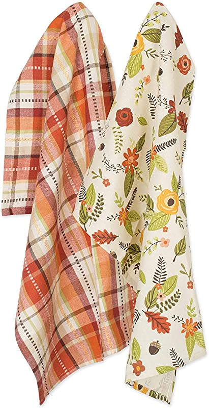 DII Cotton Thanksgiving Holiday Dish Towels 18x28 Set Of 2 Decorative Oversized Woven Kitchen Towels Perfect Home And Kitchen Gift Fall In Love