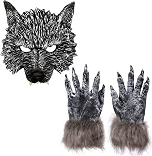 Scary Gray Wolf Head Mask with Werewolf Claws Gloves Set for Adult Kids Halloween Animal Festival Cosplay Costume Accessory