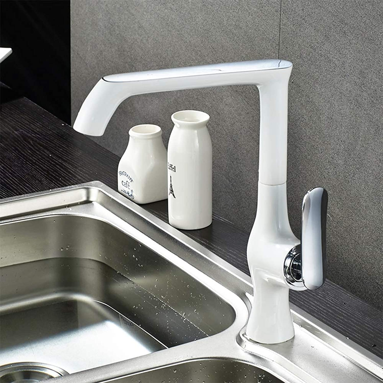 White Kitchen Tap 360 Degree redating Brass Faucet Cold and Hot Water Mixer Kitchen Sink Basin Tap,White