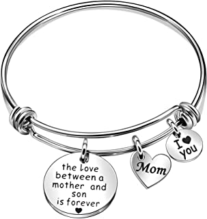 Mother and Son Jewelry Gifts from Son Bangles Mom I Love You Silver Charm Bracelets for Mother - The Love Between a Mother and Son is Forever