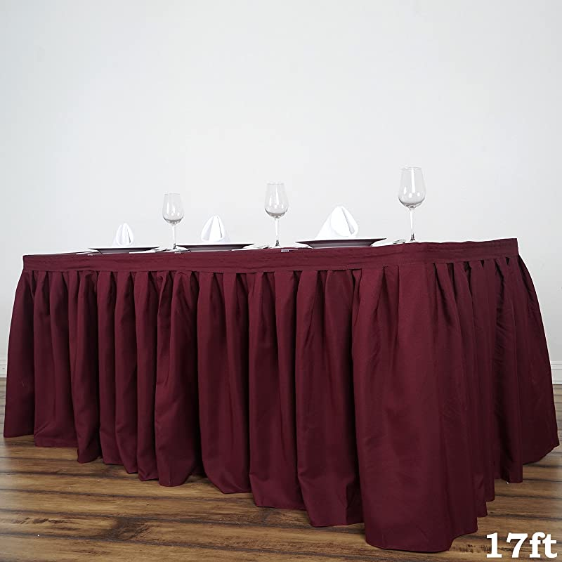 BalsaCircle 17 Feet X 29 Inch Burgundy Polyester Banquet Table Skirt Linens Wedding Party Events Decorations Kitchen Dining