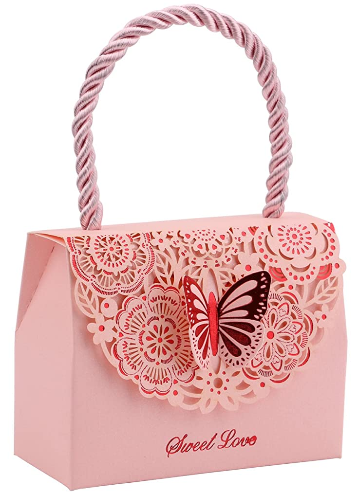 20pcs Wedding Decorative Boxes Gift Bags Butterflies with Handle, DriewWedding Party Favor Bags Paper for Anniversary, Birthday Parties, Baby Shower, Bridal Showers - Pink, 3.5