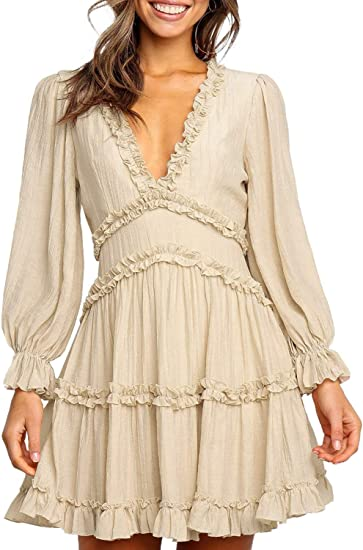 beige stylish dress for work or coctail-party