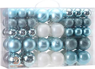 Sea Team 86 Pieces of Assorted Christmas Ball Ornaments Shatterproof Seasonal Decorative Hanging Baubles Set with Reusable Hand-held Gift Package for Holiday Xmas Tree Decorations, Babyblue