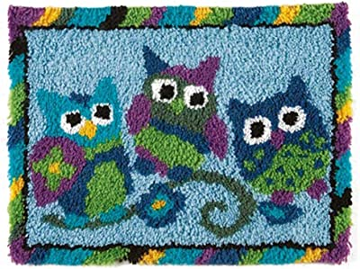 """MLADEN Latch Hook Rug Kits DIY Crochet Yarn Rugs Hooking Craft Kit with Color Preprinted Pattern Design for Adults Kids 20"""" X 14"""" (owl, 20x14inch)"""