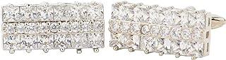 أزرار أكمام Vittorio Vico Princess & Round Clear Crystal Studded من Classy Cufflinks