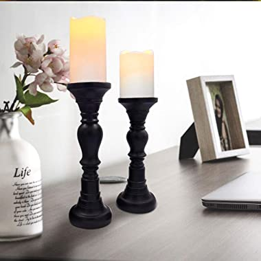 G-mart Classic Resin Set of Three Pillar Candle Holder,Ideal for LED and Pillar Candles, Gifts for Wedding, Party, Home, Spa,