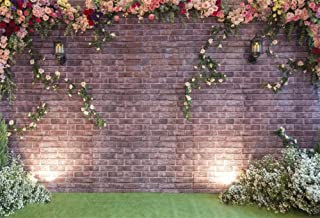 Laeacco Wedding Ceremony Backdrop 10x6.5ft Vinyl Photography Background Wedding Day Party Elegant Decoration Brick Wall Flowers Rose Ivy Green Grassfield Scene