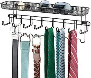 mDesign Closet Wall Mount Men's Accessory Storage Organizer Rack - Holds Belts, Neck Ties, Watches, Change, Sunglasses, Wallets - 19 Hooks and Basket - Black