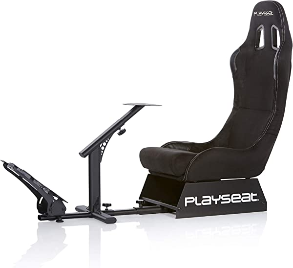 Playseat Evolution Black Alcantara Racing Video Game Chair For Nintendo XBOX Playstation CPU Supports Logitech Thrustmaster Fanatec Steering Wheel And Pedal Controllers