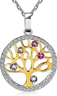 Collana Donna Albero Della Vita con Cristalli di Austria Gioielli in Argento 925, Idee Regalo per Mamma Lei Donna Compleanno