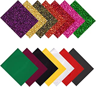 MiPremium PU Heat Transfer Vinyl HTV, Iron On Vinyl Starter Pack, Assorted Bundle Kit of Heat Press Vinyl in 14 Most Popular Glitter & Plain Colors, Easy to Cut, Weed & Press (14 x Combo Pack)