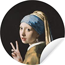 Muursticker Oude meestersKerst illustraties - Wandcirkel Oude meestersKerst illustraties - Het meisje met de parel van oud...