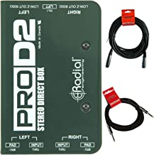 Radial ProD2 Passive 2 Channel Instrument Direct Box Passive Stereo DI with Isolation Transformer, 15dB Pad and Lift Switch with Senor Microphone Cable and Instrument Cable