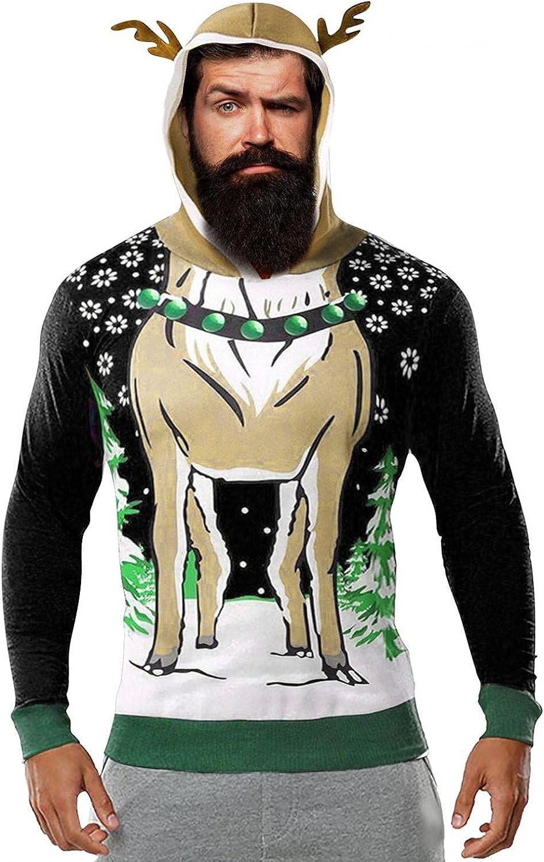 Aayomet Mens Hoodies Christmas Antlers Men's Fashion Hoodies & Sweatshirts Deer Printed Long Sleeve Pullover Shirts
