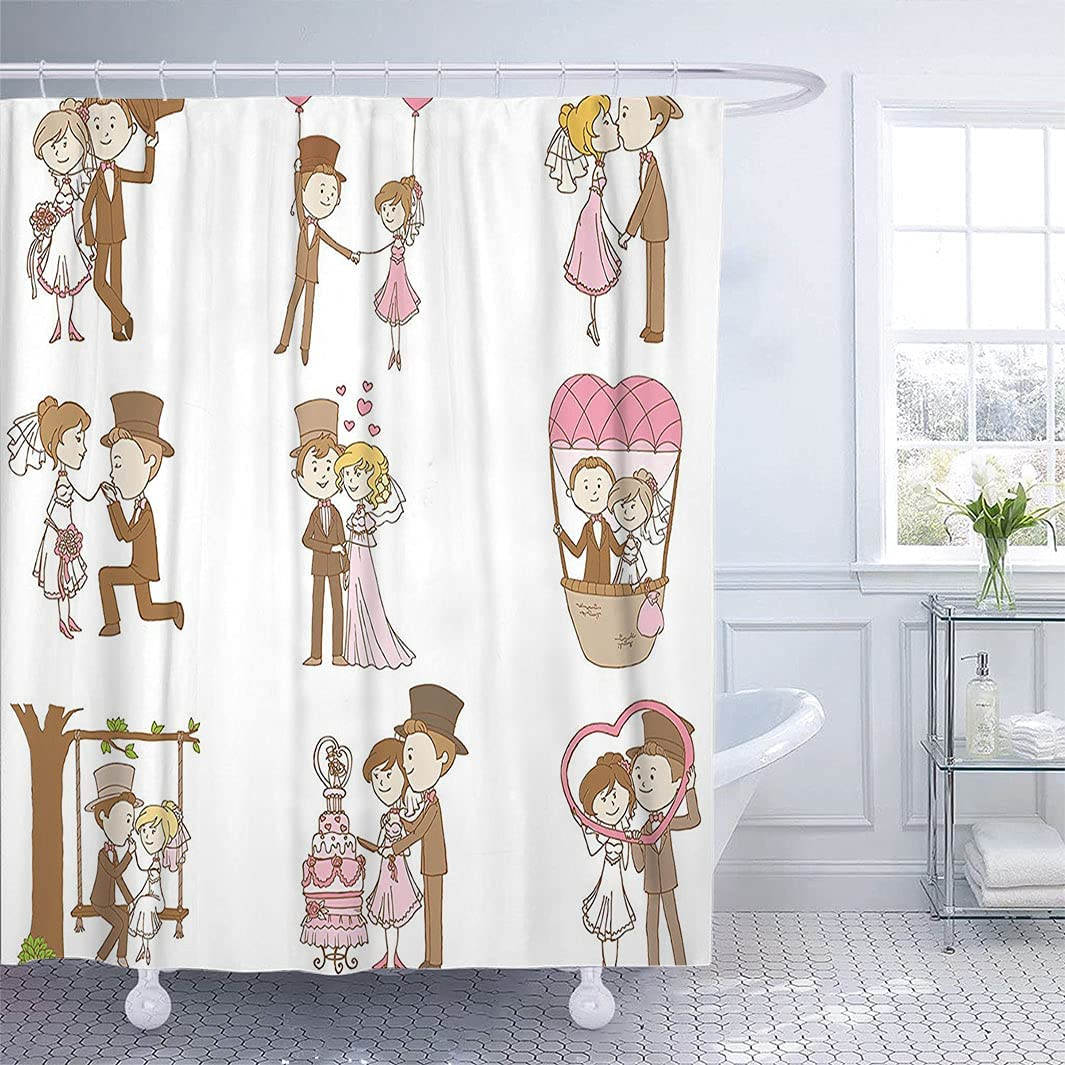 Max 84% OFF Wedding Decor Large special price Bath Curtain Doodle Set Romant and G Bride