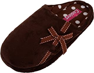 ABSOLUTE FOOTWEAR Womens Soft Fleece Mules/Slippers/Indoor Shoes with Bow Design