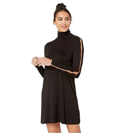 kensie Drapey French Terry Dress KSDK8325 (Black) Women