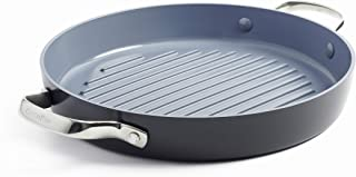 """GreenPan Valencia Pro Hard Anodized Induction Safe Healthy Ceramic Nonstick, 11"""" Grill Pan, Gray"""