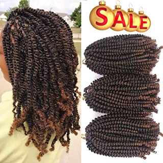 Liyate 3 Packs Spring Twist Crochet Braids Hair 8 Inch Ombre Colors Black Brown Synthetic Jamaican Bounce Short Fluffy Afro Spring Twist Braiding Hair Extensions (1B/30#)