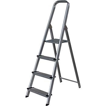 Escalera SUPER de Tijera de Aluminio Peldaño Ancho 12 cm (4 Peldaños con Ancho 12 cm). BTF-TJB304: Amazon.es: Bricolaje y herramientas