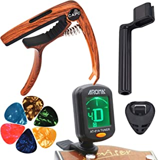 MOREYES Tuner Clip on Chromatic, Guitar, Bass, Violin, Ukulele Include Guitar Capo and Picks and Holder (Tuner capo with p...