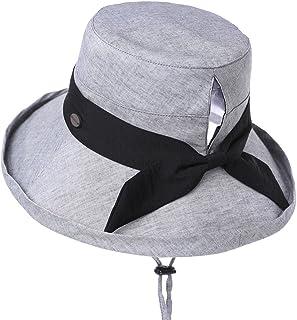 Jeff & Aimy Womens 100% Cotton Bucket Sun Hat UPF 50 Chin Strap Adjustable & Ponytail Hole