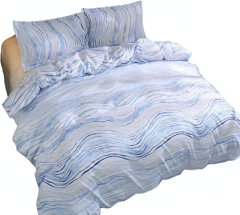 KFZ Bedding Set (1 Duvet Cover Set+2 Pillowcases) No Flat Sheet Twin Full Queen King Soft Brushed Microfiber Bed Set for Kids Teens Adult (Rock bluee, Queen,90 x90 )