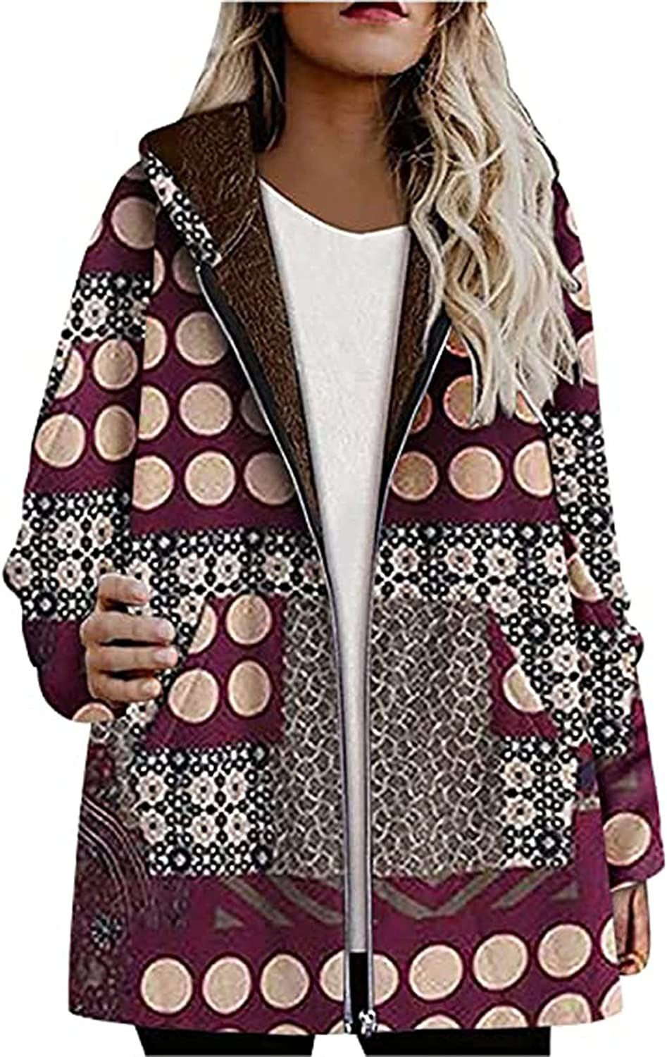 Womens Vintage Fleece Lined Coat Floral Hooded Cardigans with Pockets Oversize Zip Up Jacket Thick Outwear Hoodies