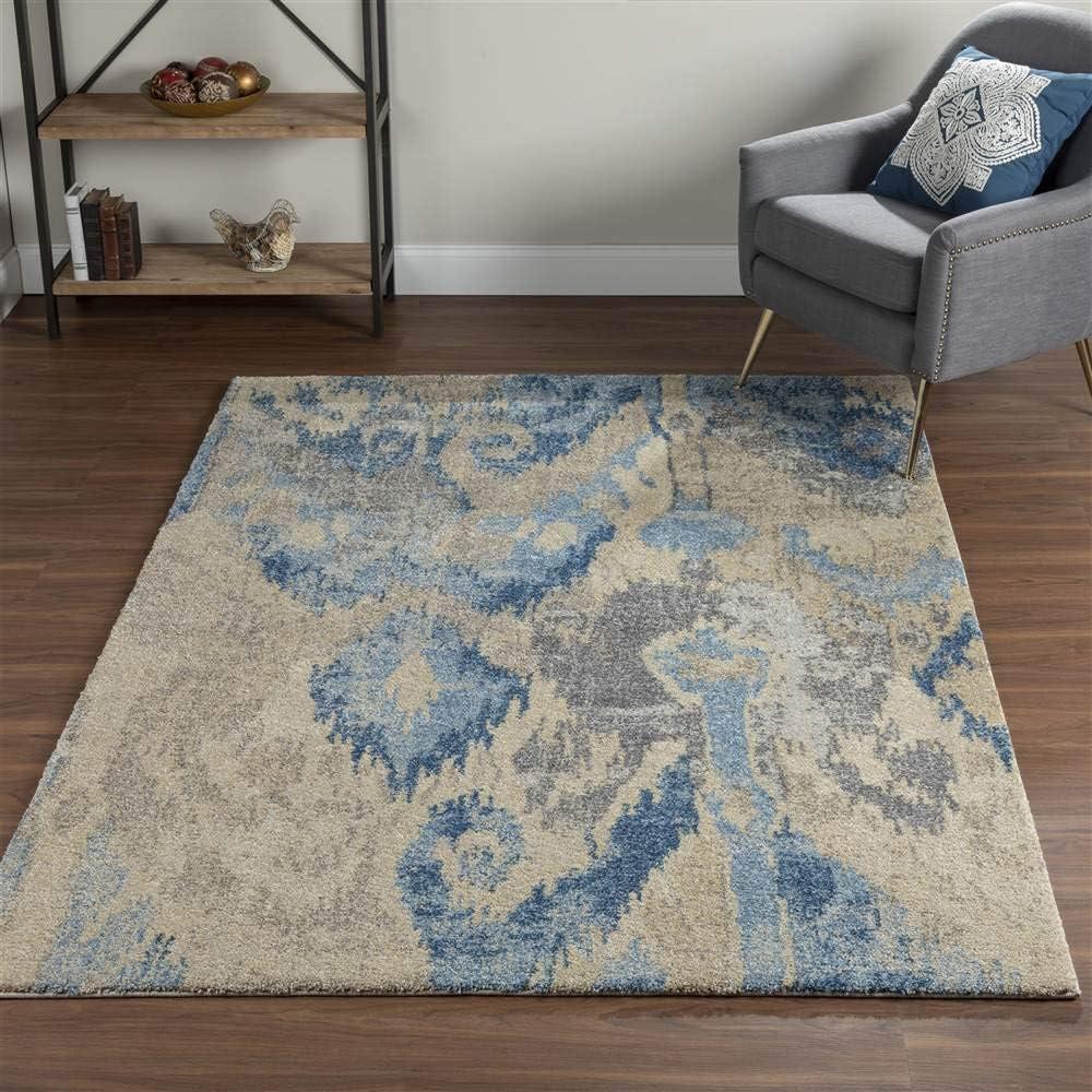 Amazon Com Addison Tobin Abstract Ikat Blue Area Rug 9 6 X13 2 Furniture Decor