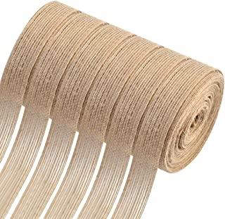 6 Roll Natural Burlap Fabric Burlap Ribbons Roll, Natural Burlap Wedding Ribbon Decorative Burlap Fabric for Wedding DIY Crafts Burlap Bows Gift Wrapping Home Decor, 0.8inch 32.8Ft Each Roll