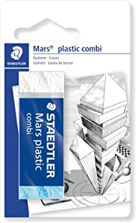 STAEDTLER 526 508 Bkd Mars Plastic Eraser Combo Plastic, Latex And Phthalate Free Pack Of 1 On Blister Card, White / Blue