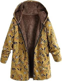 Energy Womens Hoode Floral Print Mid-Long Velvet Zip Over Sized Outwear Coat