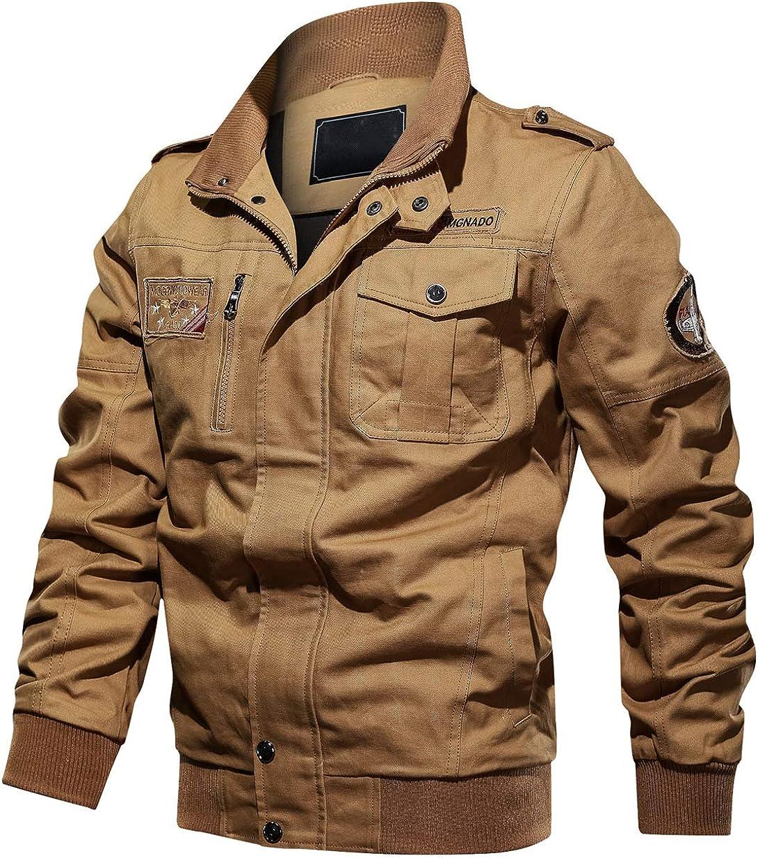 chouyatou Men's Casual Long Sleeve Zip Lightweight Military Flight Cotton Bomber Jacket