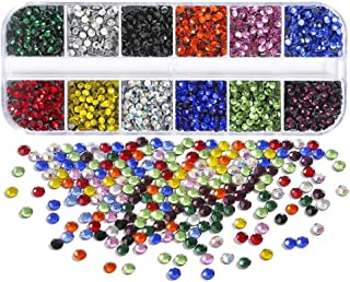 Dorhui 7200pcs 3 mm (ss10) Hotfix Crystals Flatback Rhinestones for Clothes Shoes Crafts Hot Fix Round Glass Gems Stones Flat Back Iron on Rhinestones for Clothing (12 Colors)