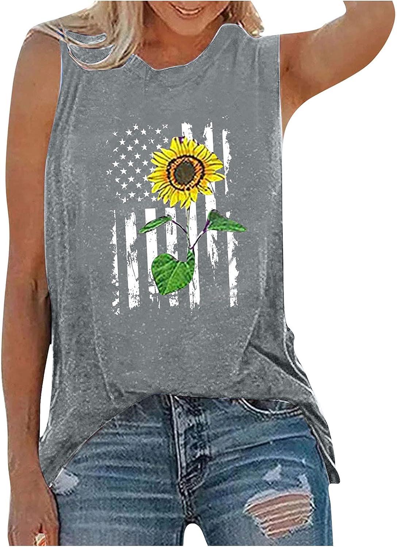 Aukbays Womens Tank Tops Patriotic Shirt USA Flag Stars Stripes Sunflower Print Sleeveless T-Shirt Independence Day Tee