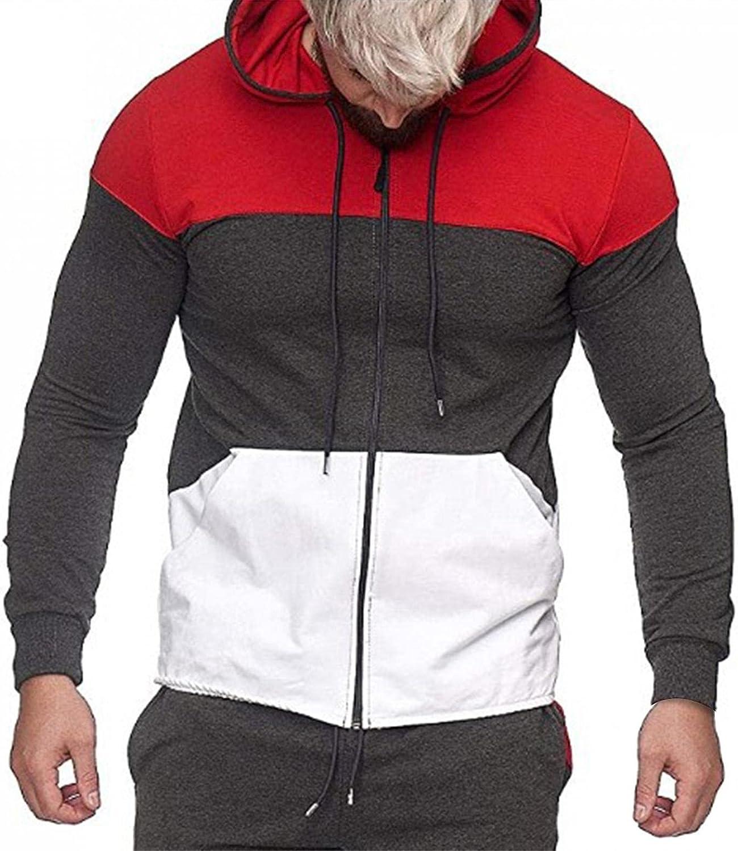 Huangse Men's Zipper Hoodie Gym Workout Sweatshirt Fashion Long Sleeve Hooded with Zipper Pocket