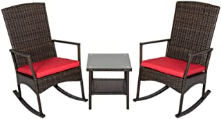 kinbor 3PCS Outdoor Rattan Rocker Chair Side Tea Table Set, Garden Rocking Wicker Lounge w/Red Cushion